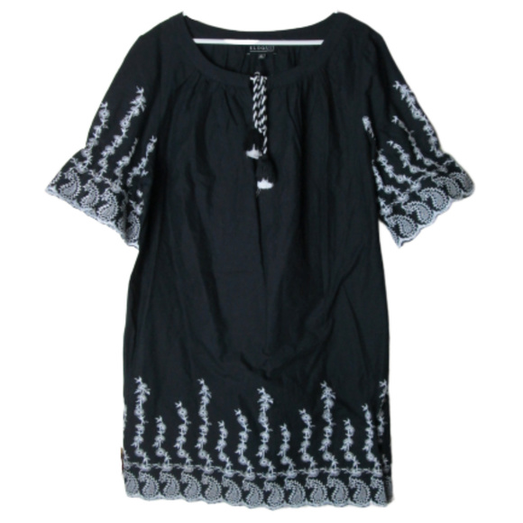 Eloquii Dresses & Skirts - Eloquii Black white embroidered dress tassel tie